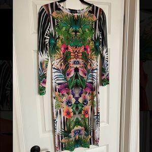 TopShop Midi Jungle Print Bodycon Dress